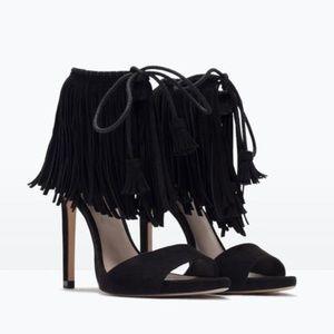 Zara Black Suede Fringe Heeled Sandals 6